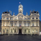The famous Terreaux square in Lyon city by night Stock Photo