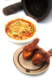 Famous Thai food, papaya salad and and fried chicken Stock Image