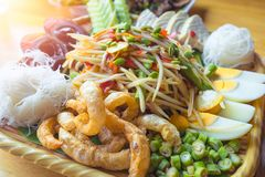 Famous Thai food, papaya salad , spicy thai food . Famous somtum papaya salad from Thailand . traditional spicy thai food stock photos