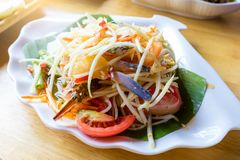 Famous Thai food, papaya salad , spicy thai food . Somtum papaya salad from Thailand . traditional spaicy thai food royalty free stock photos