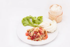 Famous Thai food, papaya salad or what we called. Somtum in Thai stock photography