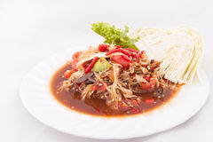 Famous Thai food, papaya salad or what we called. Somtum in Thai royalty free stock photos