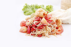 Famous Thai food, papaya salad or what we called. Somtum in Thai Stock Images