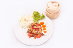 Famous Thai food, papaya salad or what we called. Somtum in Thai stock photos