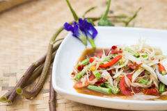 Famous Thai food, papaya salad. Or what we called Somtum in Thai Stock Image
