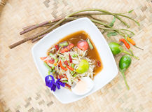 Famous Thai food, papaya salad. Or what we called Somtum in Thai Royalty Free Stock Photography