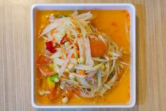 Famous Thai food, papaya salad or what we called Somtum in Tha. I Royalty Free Stock Images
