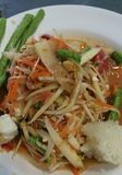 Famous Thai food, papaya salad or what we called Somtum in Thai. Culture royalty free stock photos