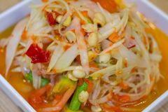 Famous Thai food, papaya salad or what we called `Somtum` in Thai. Most Famous Thai food, papaya salad or what we called `Somtum` in Thai Royalty Free Stock Images