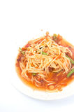 Famous Thai food, papaya salad. On white Royalty Free Stock Photography