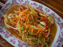 Famous Thai food, Papaya sald Somtam.  royalty free stock photos