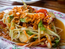 Famous Thai food, Papaya sald Somtam.  stock images