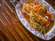 Famous Thai food, Papaya sald Somtam.  royalty free stock images