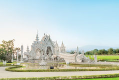 Famous Thailand temple or grand white temple Call Wat Rong Khun, Stock Image