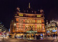 Famous theatre on the West End of london city. Wests end Harry Potter theatre in London United Kingdom at night with beautiful lights stock photography