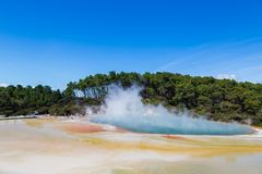Famous thermal lake Champagne Pool in Wai-O-Tapu thermanl wonderland in Rotorua royalty free stock images