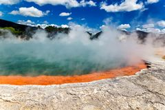 Famous thermal lake Champagne Pool in Wai-O-Tapu thermanl wonderland in New Zealand royalty free stock photo