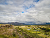 Famous Thingvellir National Park in Iceland with white church Stock Images