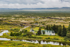 Famous Thingvellir National Park in Iceland with white church Royalty Free Stock Photography