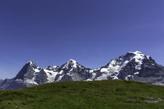 The famous three mountains in Switzerland. Eiger, Moench, and Jungfrau mountains on a sunny summer day with blue sky Stock Photography