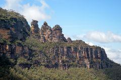 The famous Three Sisters rock formation in the Blue Mountains   National Park close to Sydney, Australia. Stock Image