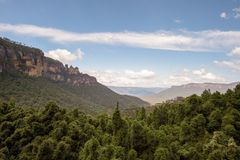 The famous Three Sisters rock formation in the Blue Mountains   National Park close to Sydney, Australia. Royalty Free Stock Images