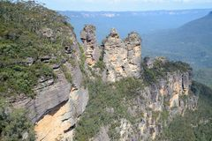 The famous Three Sisters rock formation in the Blue Mountains   National Park close to Sydney, Australia. Royalty Free Stock Photo