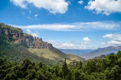 The famous Three Sisters rock formation in the Blue Mountains National Park close to Sydney. Royalty Free Stock Photos