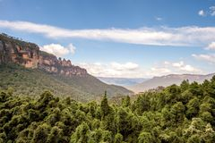 The famous Three Sisters rock formation in the Blue Mountains National Park close to Sydney. Royalty Free Stock Photography