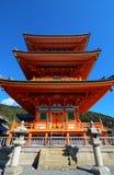 Famous three-story pagoda at Kiyomizu-dera in Kyoto, Japan Royalty Free Stock Images