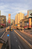 The famous tianhelu ( tianhe road ) at sunrise in guangzhou Royalty Free Stock Images