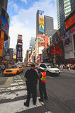 The famous Times Square. At Mid-town Manhattan - a wide angle view stock photos
