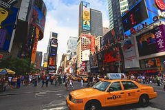 The famous Times Square. At Mid-town Manhattan - a wide angle view royalty free stock image
