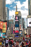 The famous Times Square in New York, USA. With over 39 million visitors annually, it is one of the world's most visited tourist at Royalty Free Stock Image