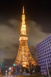 Famous Tokyo tower glowing in bright lights in Tokyo, Japan. Famous Tokyo tower , a communications and observation tower in the Shiba-koen district of Minato stock photography