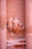 Famous tomb Al-Khazneh or Treasury in Petra. Detail of facade of famous tomb Al-Khazneh or Treasury in Petra, Jordan Stock Image