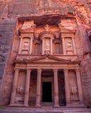 Famous tomb Al-Khazneh or Treasury in Petra. Scenic view to facade of famous tomb Al-Khazneh or Treasury in Petra, Jordan Stock Photos