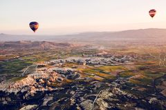 The famous tourist attraction of Cappadocia is an air flight. Cappadocia is known all over the world as one of the best. Places for flights with balloons Stock Images