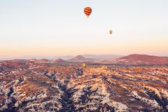 The famous tourist attraction of Cappadocia is an air flight. Cappadocia is known all over the world as one of the best. Places for flights with balloons Royalty Free Stock Photo