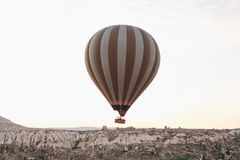 Balloon flight. The famous tourist attraction of Cappadocia is an air flight. Cappadocia is known all over the world as. The famous tourist attraction of Stock Image