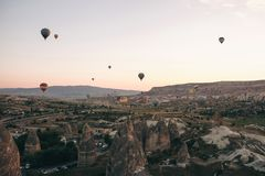 Balloon flight. The famous tourist attraction of Cappadocia is an air flight. Cappadocia is known all over the world as. The famous tourist attraction of Royalty Free Stock Image