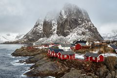 Fishing village of Hamnoy in the Lofoten Islands, Norway stock photos