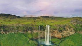 Iceland Waterfall Seljalandsfoss in Beautiful Icelandic Landscape. stock footage