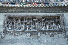 The famous tourist attractions in Guangzhou city China Chen ancestral temple on the roof, brick producing figures of decorative ar Stock Photo