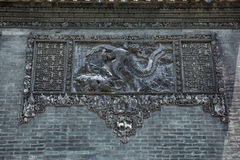The famous tourist attractions in Guangzhou city China Chen ancestral temple on the roof, brick production process to figure out t. Chen Jia CI Tang and Chen stock photography