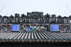 The famous tourist attractions in Guangzhou city Chinese Chen ancestral hall, on the roof with lime moulding process and Shiwan po Royalty Free Stock Images