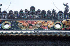 The famous tourist attractions in Guangzhou city Chinese Chen ancestral hall, on the roof with lime moulding process and Shiwan po Stock Images