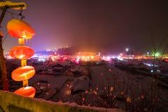 Snow village of China stock photo