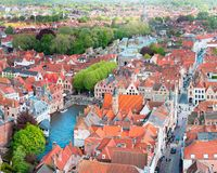 Famous tourist destination for photos in Bruges, Belgium. Aerial view, view from the Belfort tower. royalty free stock photos