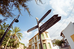 Famous tourist landmark on signpost in northern part of Nicosia, Royalty Free Stock Photography